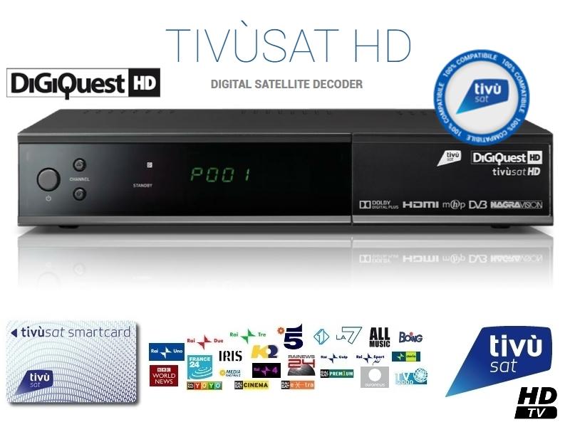Tivusat Digiquest HD Official Italian Tivu HD TV Decoder and Card